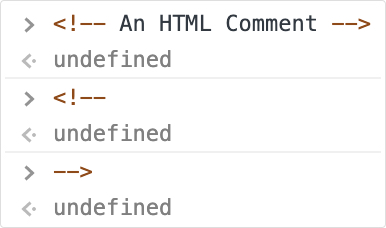 HTML comments in JavaScript example